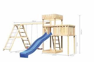 Akubi Kinderspielturm Ritterburg Löwenherz inkl. Wellenrutsche, Doppelschaukelanbau, Klettergerüst und Anbauplattform