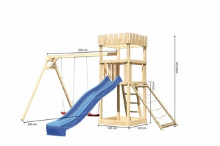 Akubi Kinderspielturm Ritterburg Löwenherz inkl. Wellenrutsche, Doppelschaukelanbau und Netzrampe