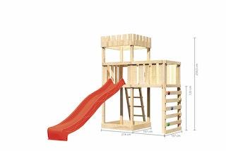 Akubi Kinderspielturm Ritterburg Löwenherz inkl. Wellenrutsche, Anbauplattform und Kletterwand