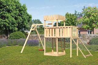 Akubi Kinderspielturm Ritterburg Löwenherz inkl. Einzelschaukelanbau, Anbauplattform und Netzrampe