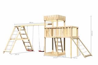 Akubi Kinderspielturm Ritterburg Löwenherz inkl. Doppelschaukelanbau, Klettergerüst, Anbauplattform und Netzrampe