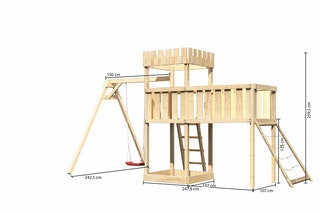 Akubi Kinderspielturm Ritterburg Löwenherz inkl. Einzelschaukelanbau, Anbauplattform XL und Netzrampe