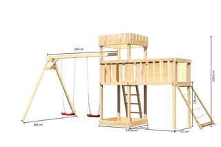 Akubi Kinderspielturm Ritterburg Löwenherz inkl. Doppelschaukelanbau,  Anbauplattform XL und Netzrampe