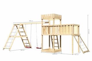 Akubi Kinderspielturm Ritterburg Löwenherz inkl. Doppelschaukelanbau, Klettergerüst, Anbauplattform XL und Netzrampe