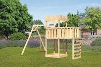 Akubi Kinderspielturm Ritterburg Löwenherz inkl. Einzelschaukelanbau, Anbauplattform und Kletterwand