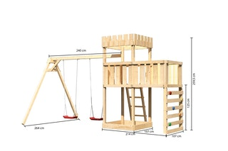 Akubi Kinderspielturm Ritterburg Löwenherz inkl. Doppelschaukelanbau, Anbauplattform und Kletterwand