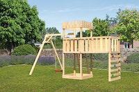 Akubi Kinderspielturm Ritterburg Löwenherz inkl. Einzelschaukelanbau, Anbauplattform XL und Kletterwand