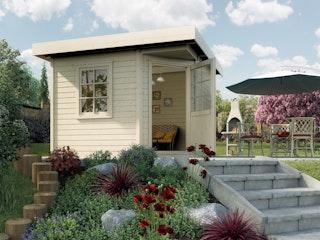 Weka Designhaus 213+ mit extra hoher Tür - 28 mm
