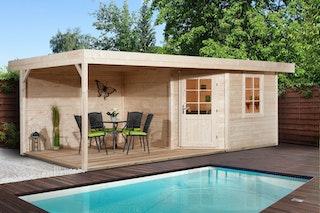 Weka Designhaus 213 B+ inkl. 300 cm Anbau und extra hoher Tür - 28 mm