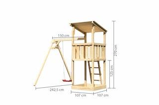 Akubi Kinderspielturm Anna mit Pultdach inkl. Einzelschaukel