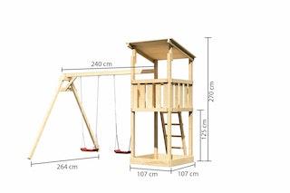 Akubi Kinderspielturm Anna mit Pultdach inkl. Doppelschaukel