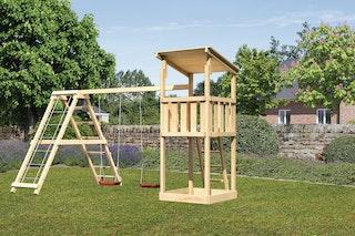 Akubi Kinderspielturm Anna mit Pultdach inkl. Doppelschaukel und Klettergerüst