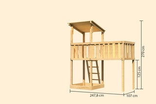 Akubi Kinderspielturm Anna mit Pultdach inkl. Anbauplattform XL