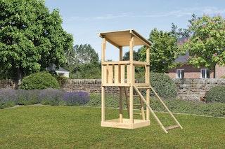 Akubi Kinderspielturm Anna mit Pultdach inkl. Netzrampe