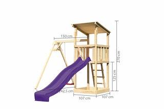 Akubi Kinderspielturm Anna mit Pultdach inkl. Wellenrutsche und Einzelschaukel