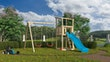 Akubi Kinderspielturm Anna mit Pultdach inkl. Wellenrutsche und Doppelschaukel