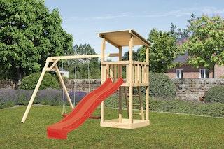 Akubi Kinderspielturm Anna mit Pultdach inkl. Wellenrutsche und Doppelschaukel inkl. gratis Akubi-Plane