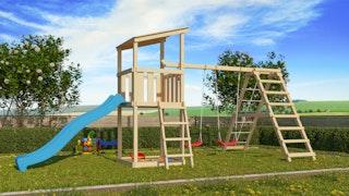 Akubi Kinderspielturm Anna mit Pultdach inkl. Wellenrutsche, Doppelschaukel und Klettergerüst