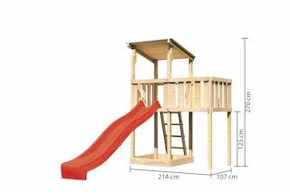 Akubi Kinderspielturm Anna mit Pultdach inkl. Anbauplattform und Wellenrutsche
