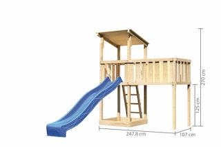 Akubi Kinderspielturm Anna mit Pultdach inkl. Anbauplattform XL und Wellenrutsche