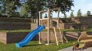 Akubi Kinderspielturm Anna mit Pultdach inkl. Wellenrutsche und Netzrampe