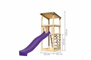 Akubi Kinderspielturm Anna mit Pultdach inkl. Wellenrutsche und Kletterwand