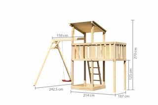 Akubi Kinderspielturm Anna mit Pultdach inkl. Einzelschaukel und Anbauplattform