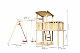 Akubi Kinderspielturm Anna mit Pultdach inkl. Doppelschaukel und Anbauplattform