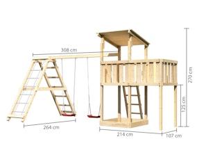 Akubi Kinderspielturm Anna mit Pultdach inkl. Anbauplattform, Doppelschaukel und Klettergerüst