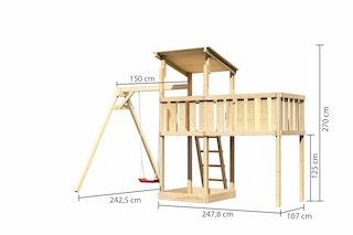 Akubi Kinderspielturm Anna mit Pultdach inkl. Einzelschaukel und Anbauplattform XL