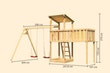 Akubi Kinderspielturm Anna mit Pultdach inkl. Doppelschaukel und Anbauplattform XL