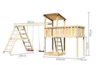 Akubi Kinderspielturm Anna mit Pultdach inkl. Anbauplattform XL, Doppelschaukel und Klettergerüst