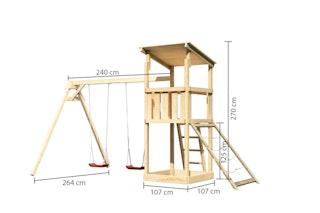 Akubi Kinderspielturm Anna mit Pultdach inkl. Doppelschaukel und Netzrampe