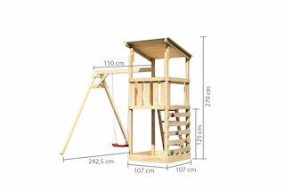 Akubi Kinderspielturm Anna mit Pultdach inkl. Einzelschaukel und Kletterwand