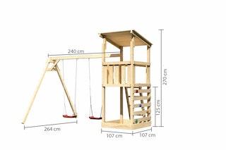Akubi Kinderspielturm Anna mit Pultdach inkl. Doppelschaukel und Kletterwand