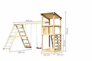 Akubi Kinderspielturm Anna mit Pultdach inkl. Kletterwand, Doppelschaukel und Klettergerüst