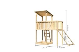 Akubi Kinderspielturm Anna mit Pultdach inkl. Anbauplattform und Netzrampe