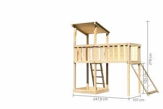 Akubi Kinderspielturm Anna mit Pultdach inkl. Anbauplattform XL und Netzrampe