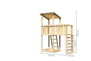 Akubi Kinderspielturm Anna mit Pultdach inkl. Anbauplattform und Kletterwand