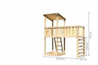 Akubi Kinderspielturm Anna mit Pultdach inkl. Anbauplattform XL und Kletterwand