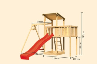 Akubi Kinderspielturm Anna mit Pultdach inkl. Wellenrutsche, Einzelschaukel und Anbauplattform