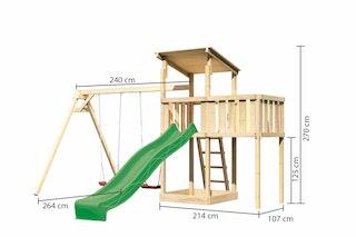 Akubi Kinderspielturm Anna mit Pultdach inkl. Wellenrutsche, Doppelschaukel und Anbauplattform
