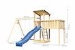 Akubi Kinderspielturm Anna mit Pultdach inkl. Wellenrutsche, Doppelschaukel und Anbauplattform XL