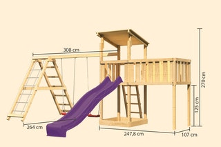 Akubi Kinderspielturm Anna mit Pultdach inkl. Wellenrutsche, Anbauplattform XL, Doppelschaukel und Klettergerüst
