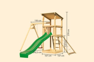 Akubi Kinderspielturm Anna mit Pultdach inkl. Wellenrutsche, Netzrampe und Einzelschaukel