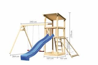 Akubi Kinderspielturm Anna mit Pultdach inkl. Wellenrutsche, Netzrampe und Doppelschaukel