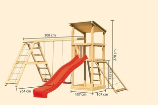 Akubi Kinderspielturm Anna mit Pultdach inkl. Wellenrutsche, Netzrampe, Doppelschaukel und Klettergerüst
