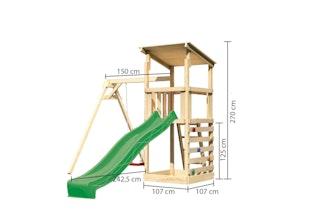 Akubi Kinderspielturm Anna mit Pultdach inkl. Wellenrutsche, Kletterwand und Einzelschaukel
