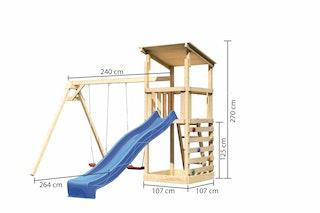 Akubi Kinderspielturm Anna mit Pultdach inkl. Wellenrutsche, Kletterwand und Doppelschaukel