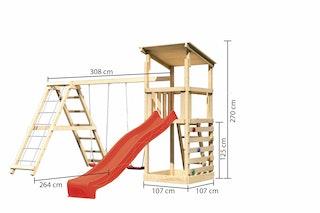 Akubi Kinderspielturm Anna mit Pultdach inkl. Wellenrutsche, Kletterwand, Doppelschaukel und Klettergerüst
